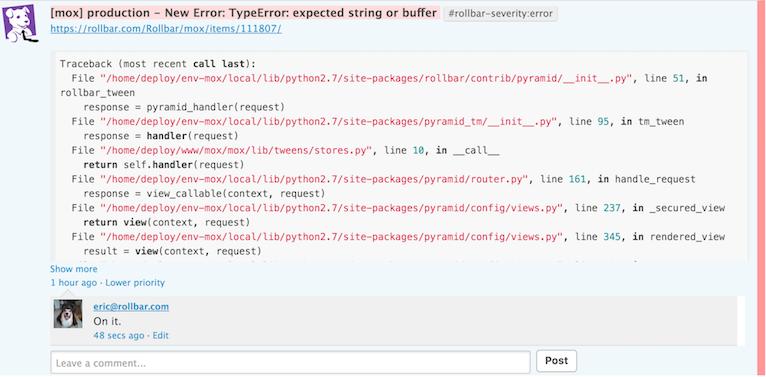 Rollbar error event