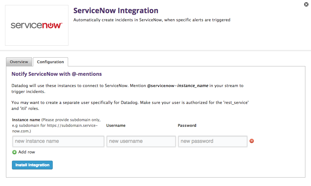 ServiceNow configuration